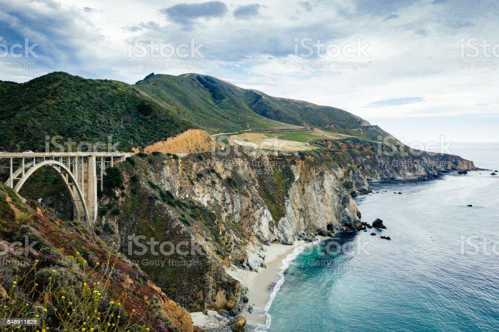 Brixby Bridge and Great Ocean Road, California, USA stock photo