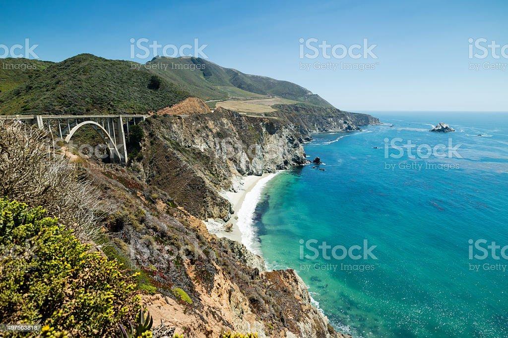 Brixby Bridge Sommertag, dem Pacific Coast Highway Route 1, Kalifornien Lizenzfreies stock-foto