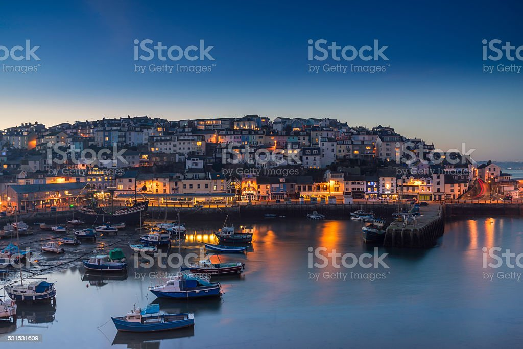 Brixham at sunset stock photo