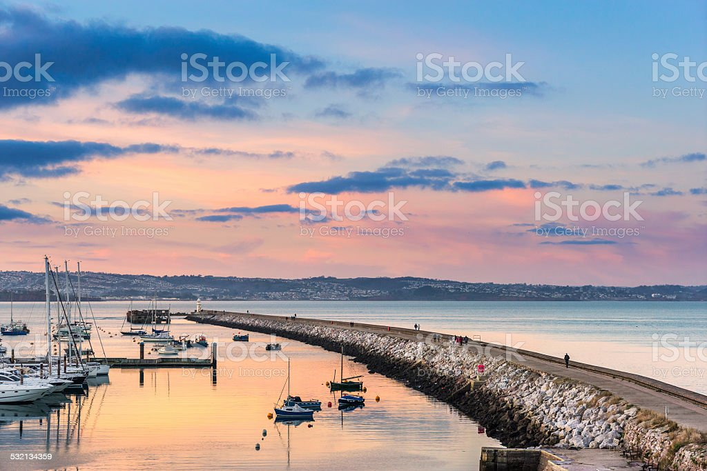 Brixham Breakwater and Harbour stock photo