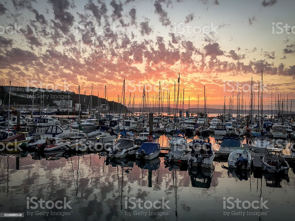 Brixham Harbor Sunset stock photo