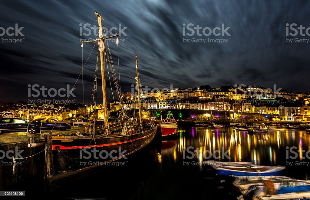 Brixham harbour at night stock photo