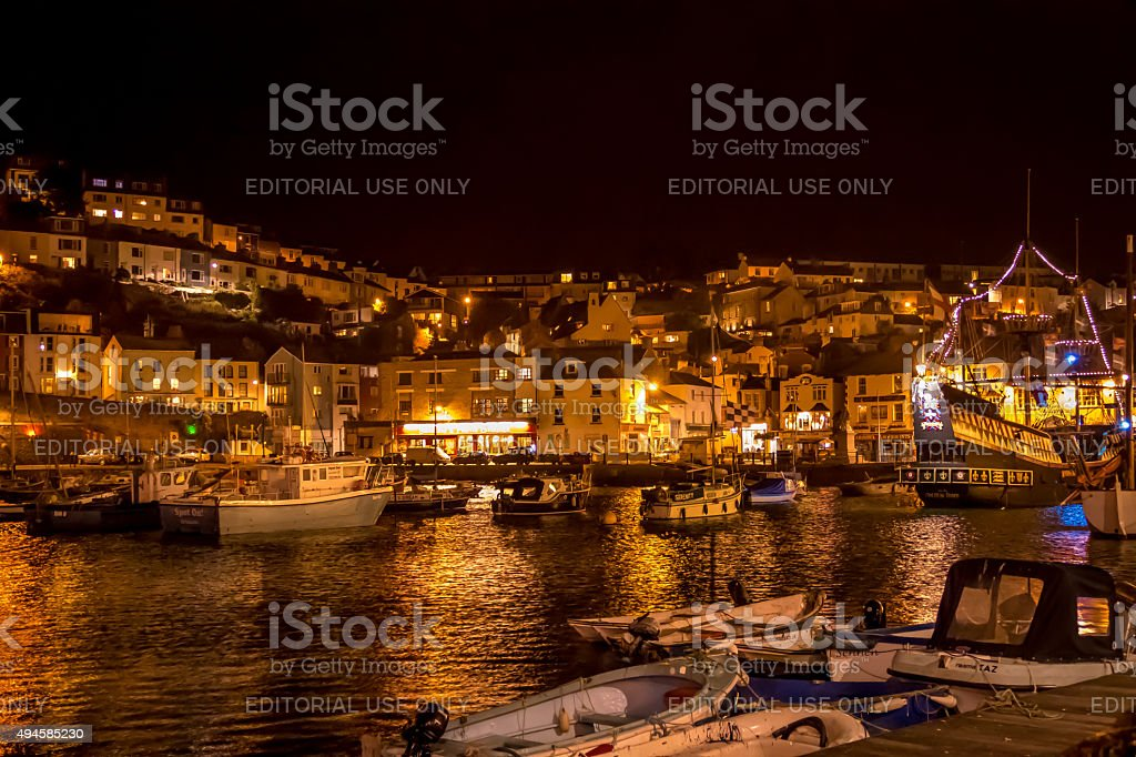 Brixham harbour in Devon, UK stock photo