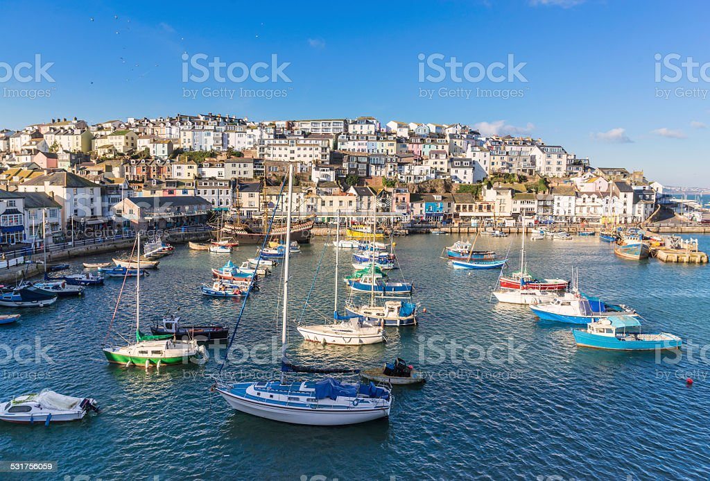 Brixham Harbour in South Devon stock photo