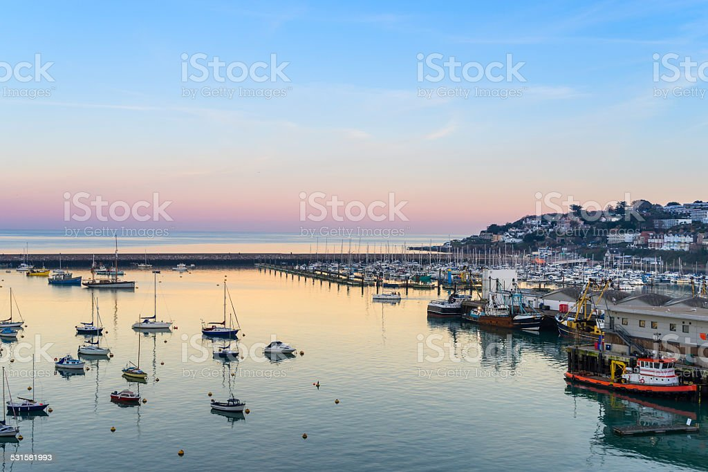 Brixham Marina at Sunset stock photo