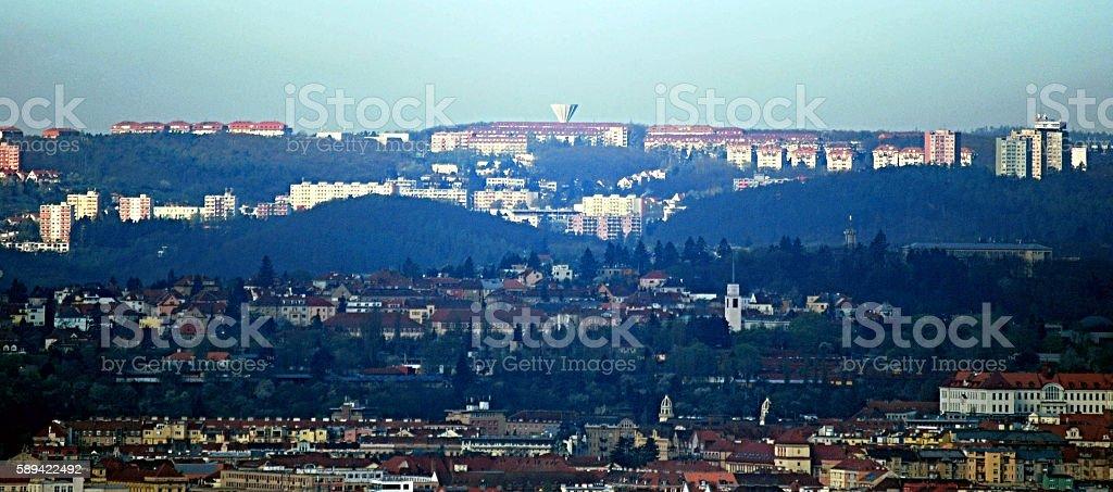Brno city with Dukovany nuclear power station stock photo