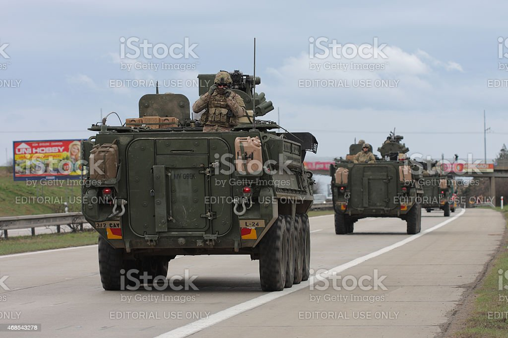 Brno,Czech Republic-March 30,2015:Dragoon Ride - US army convoy stock photo