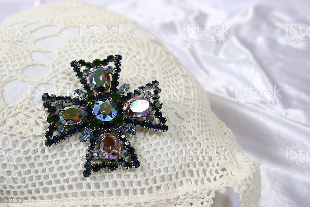 Broach on pillow royalty-free stock photo