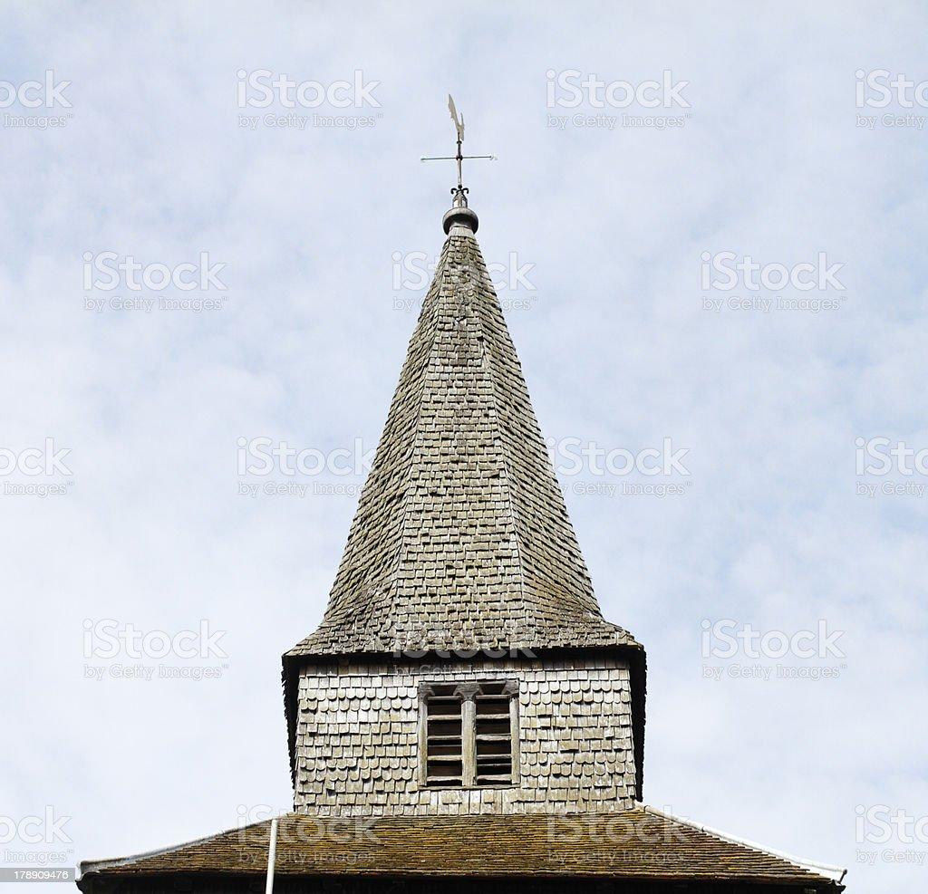 Broached spire of St. Nicholas church Godstone Surrey stock photo