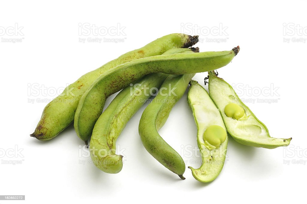 Broad Bean(Fava Bean) Pod arrangement stock photo