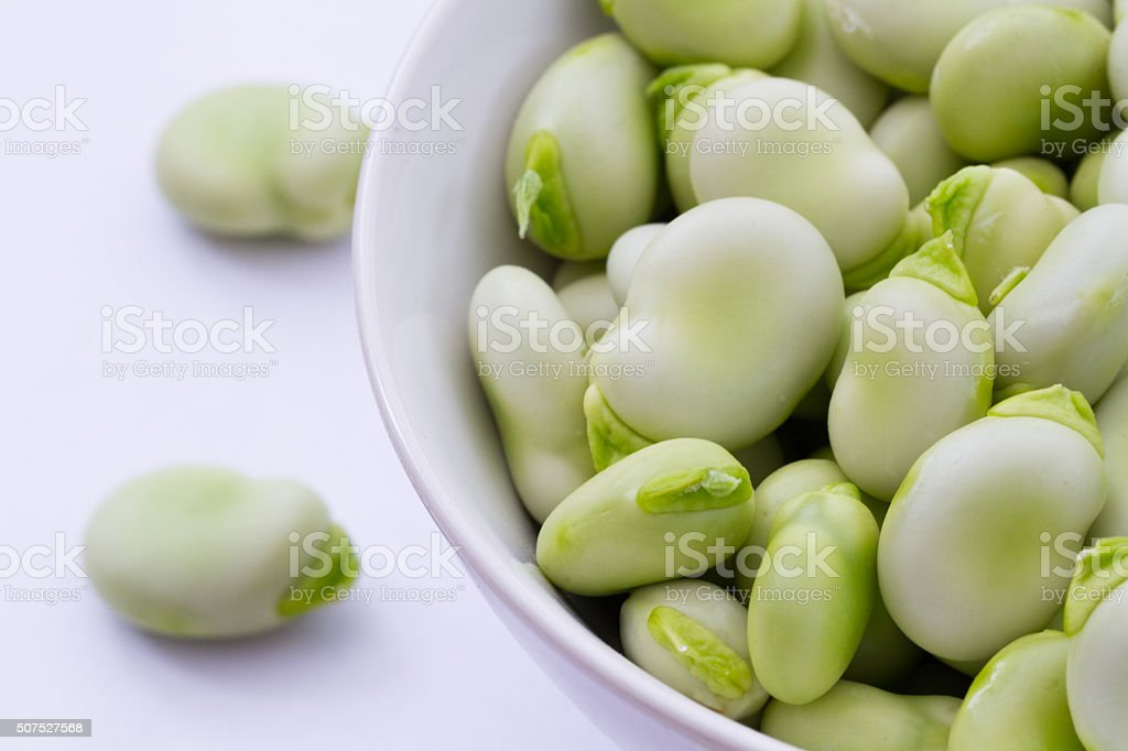 Broad Beans In A Bowl stock photo
