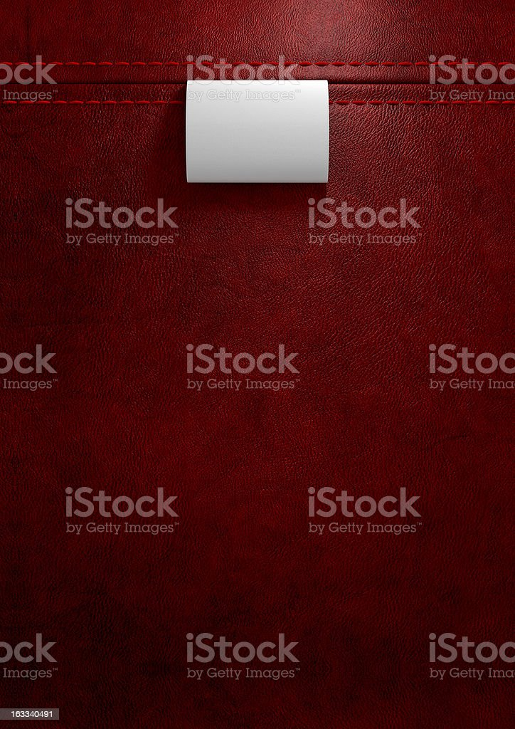 Broad Clothing Label In Red Leather royalty-free stock photo