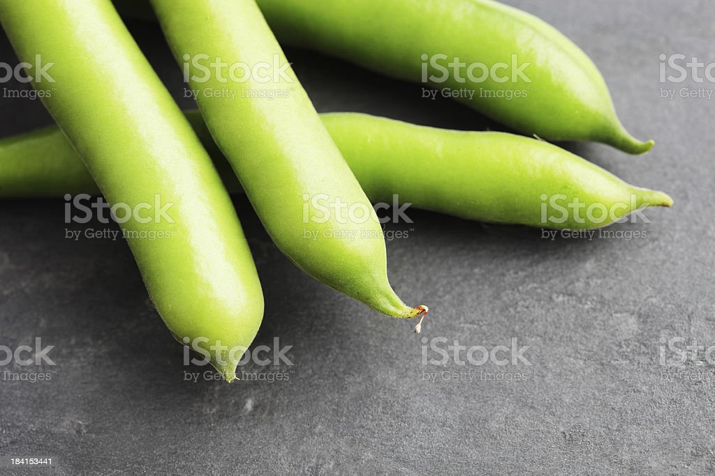 Broad or Fava Beans on Slate royalty-free stock photo