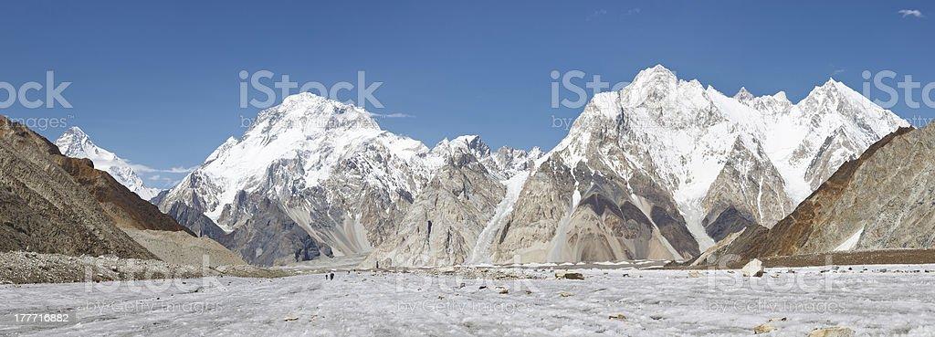Broad Peak and Vigne Glacier Panorama, Pakistan stock photo