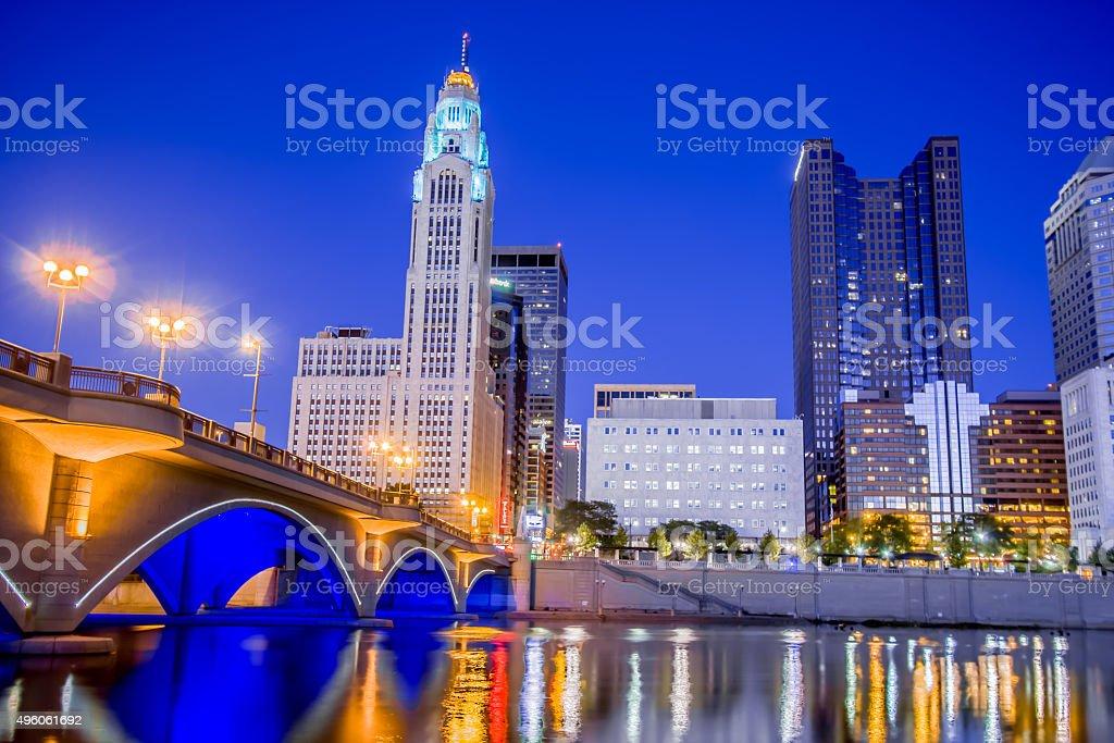 Broad Street Bridge Downtown Columbus Ohio Skyline Scioto River HDR stock photo