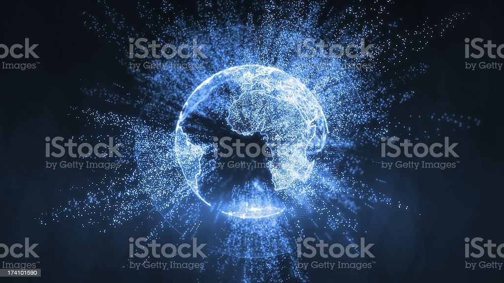 Broadcast earth globe - travelling informations stock photo