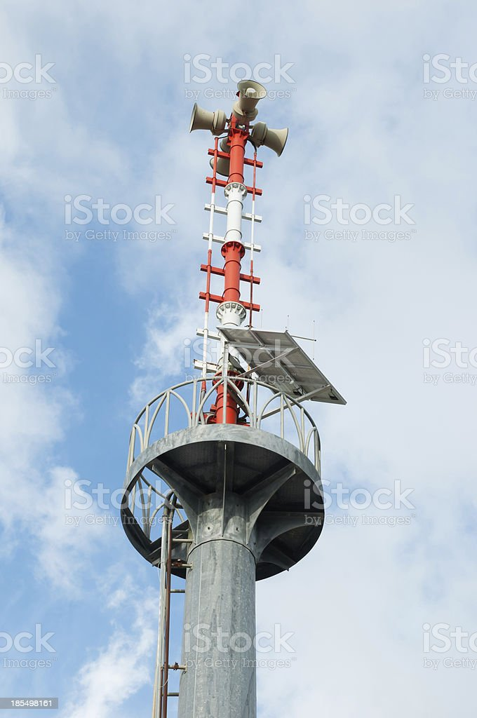 Broadcast tower and alarm royalty-free stock photo