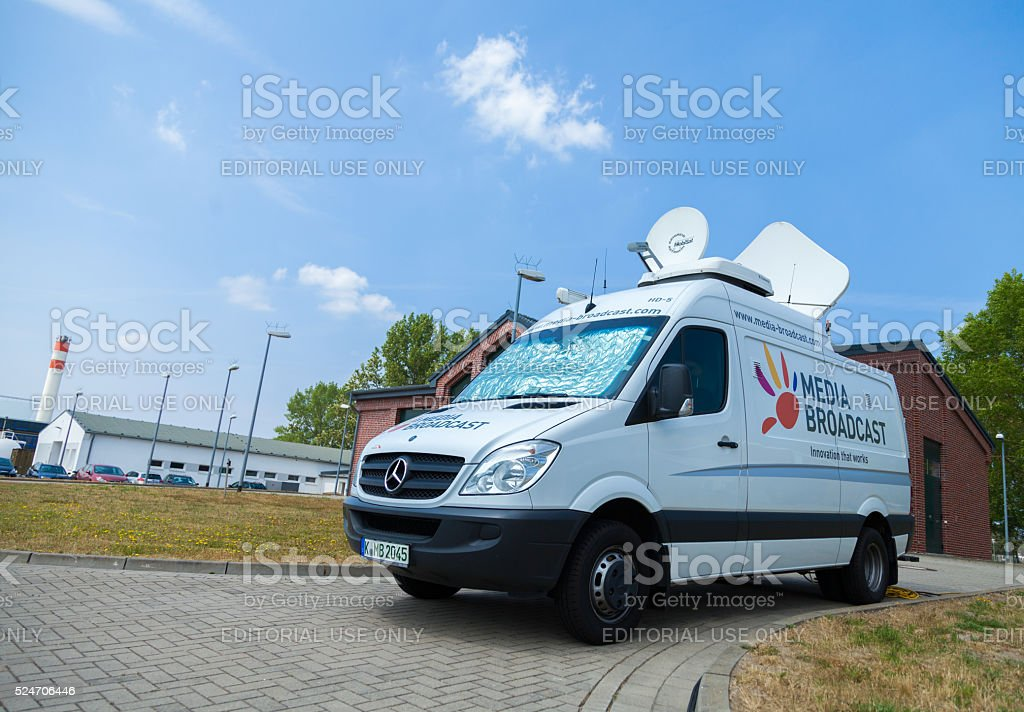 Broadcast tv car on open day presentation in naval base stock photo