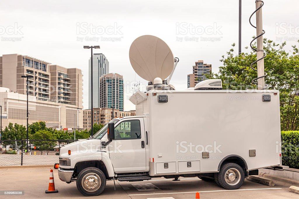 Broadcast vehicle stock photo
