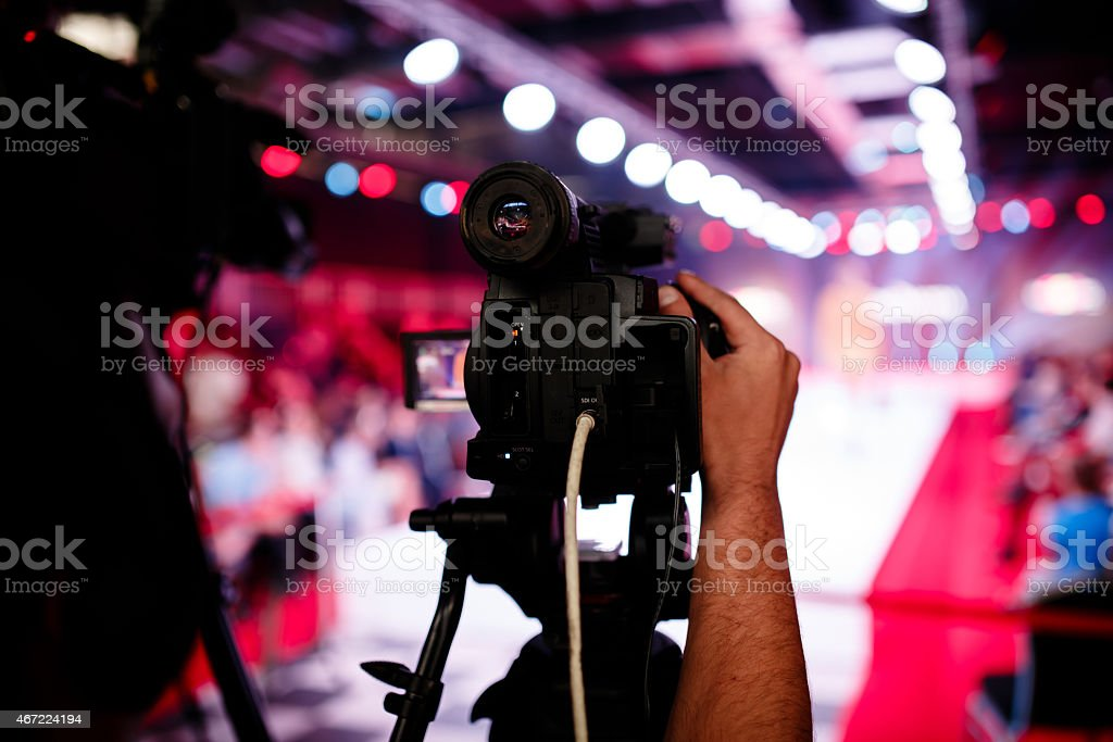 Broadcasting a fashion show stock photo