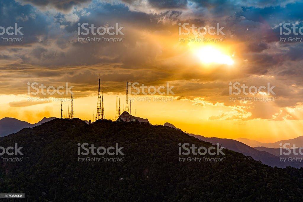 Broadcasting and telecommunication station stock photo