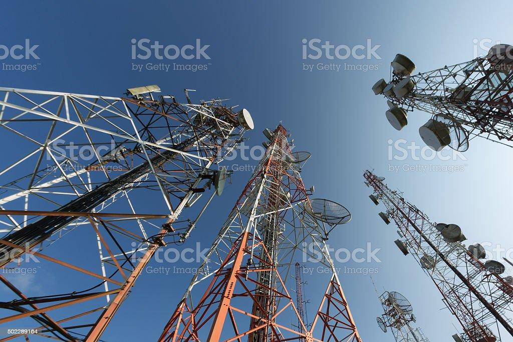 Broadcasting antenna stock photo