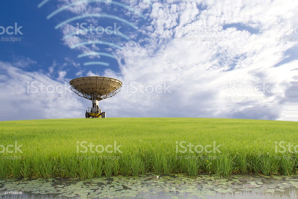Broadcasting, satellite dish in the field royalty-free stock photo