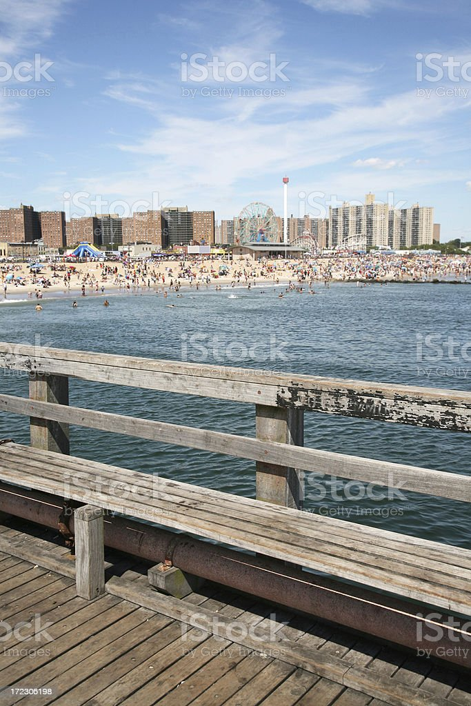 Broadwalk Bench At Coney Island royalty-free stock photo