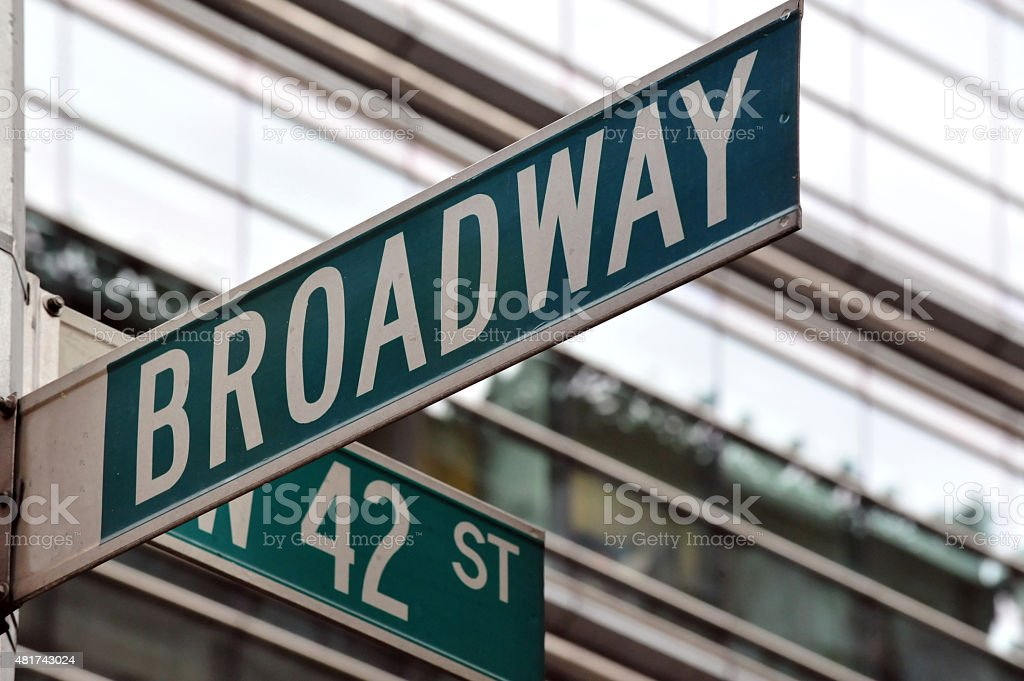 Broadway 42nd street sign stock photo