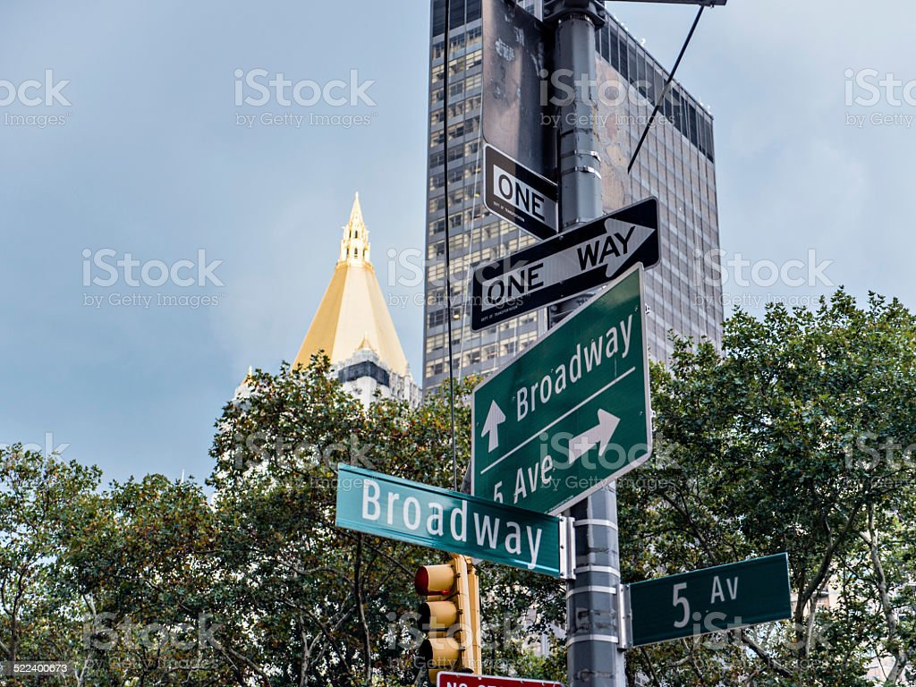 Broadway and 5th Ave sign stock photo