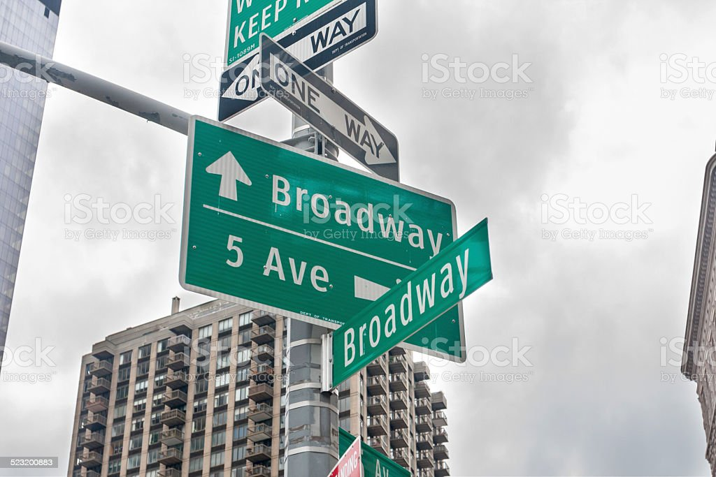 Broadway and 5th Avenue stock photo