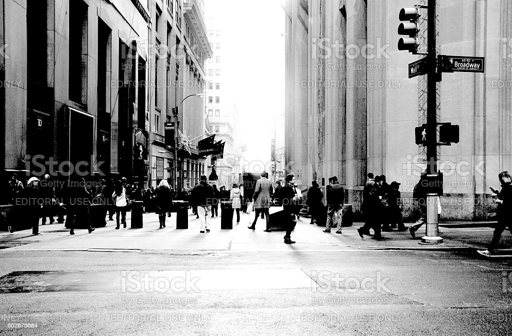 Broadway and Wall Street Financial District NYC stock photo