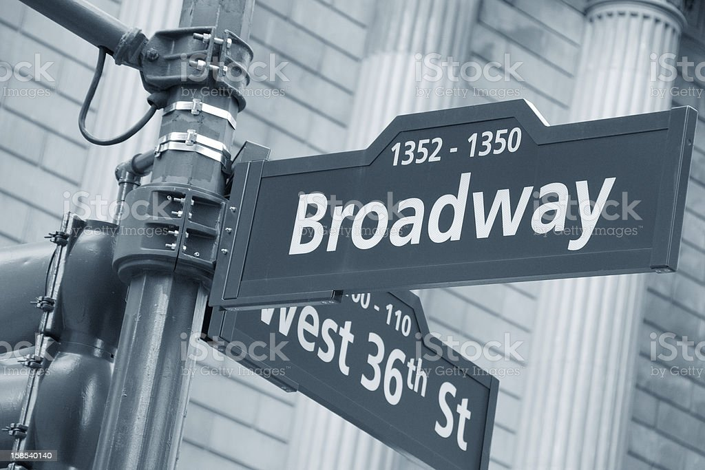 Broadway and West 36th Street sign royalty-free stock photo