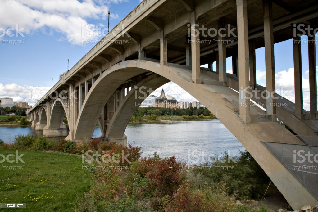 Broadway Bridge and Bessborough Hotel in Downtown Saskatoon royalty-free stock photo