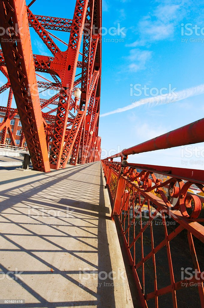 Broadway bridge crossing the Willamette River in Portland Oregon stock photo