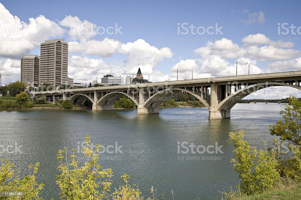Broadway Bridge in Downtown Saskatoon With Hotels andd Condominiums royalty-free stock photo