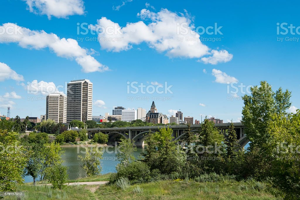 Broadway Bridge in Saskatoon With Hotels, Office Buidlings and Condominiums stock photo