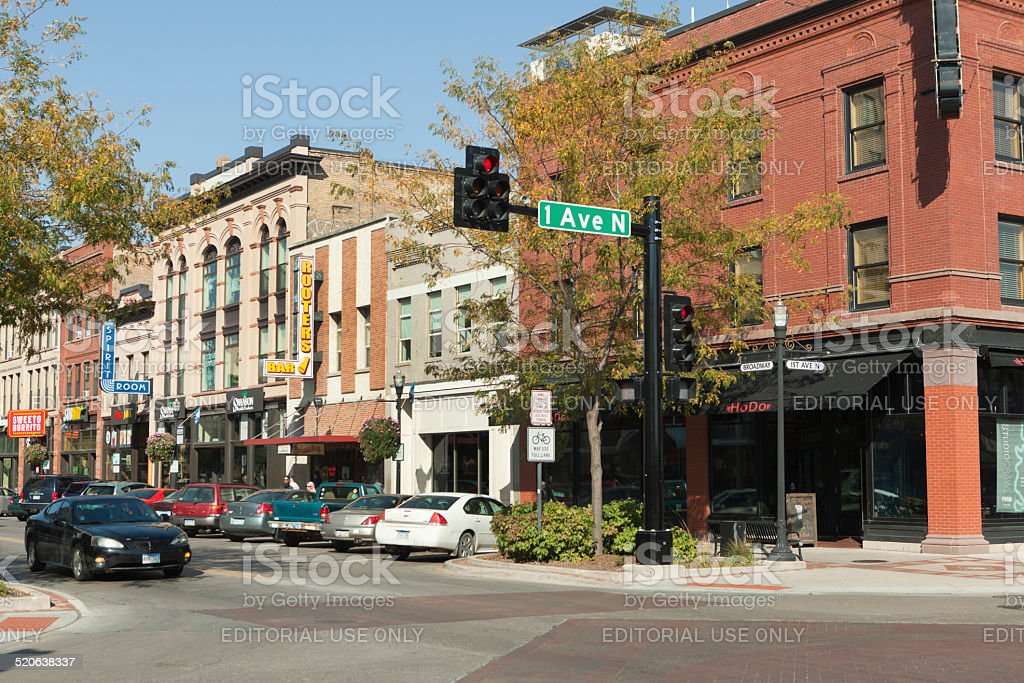 Broadway Downtown Skyline of Fargo, North Dakota, USA stock photo