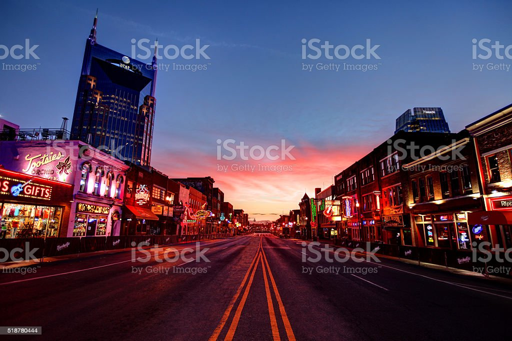 Broadway in downtown Nashville, Tennessee stock photo