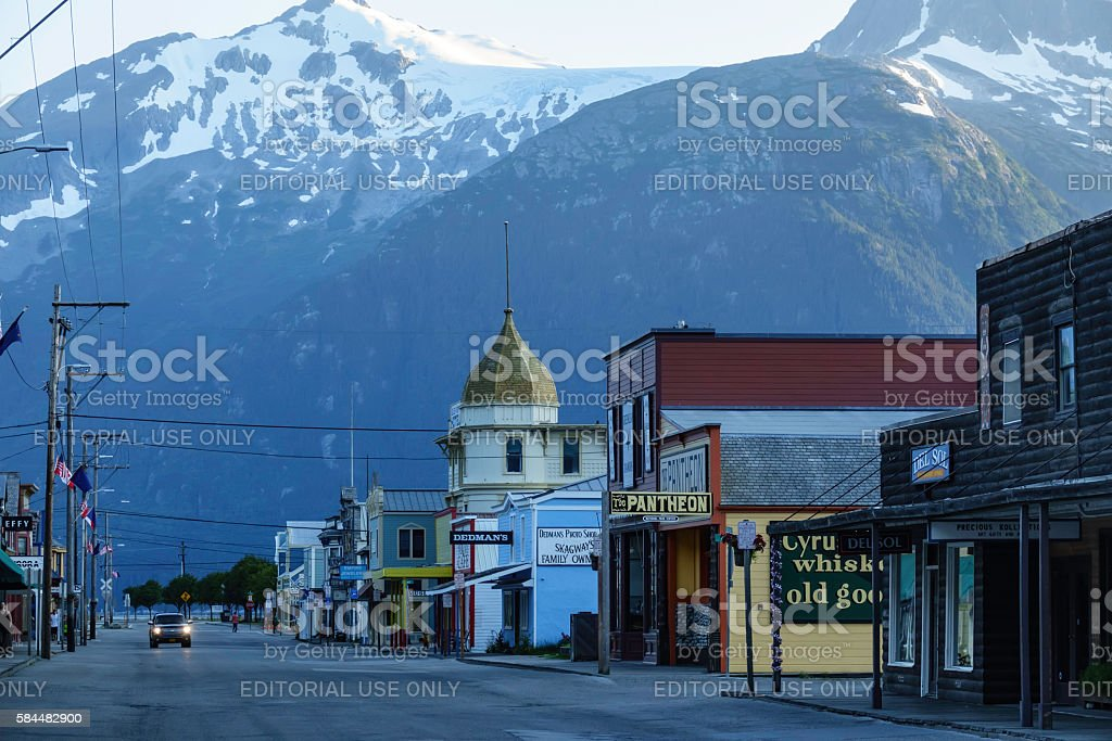 Broadway in Skagway at sunset stock photo