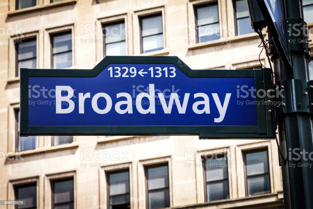 Broadway Street Sign in Manhattan, New York City stock photo