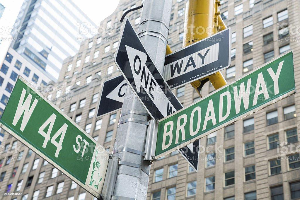 Broadway Street Signs, New York, USA royalty-free stock photo