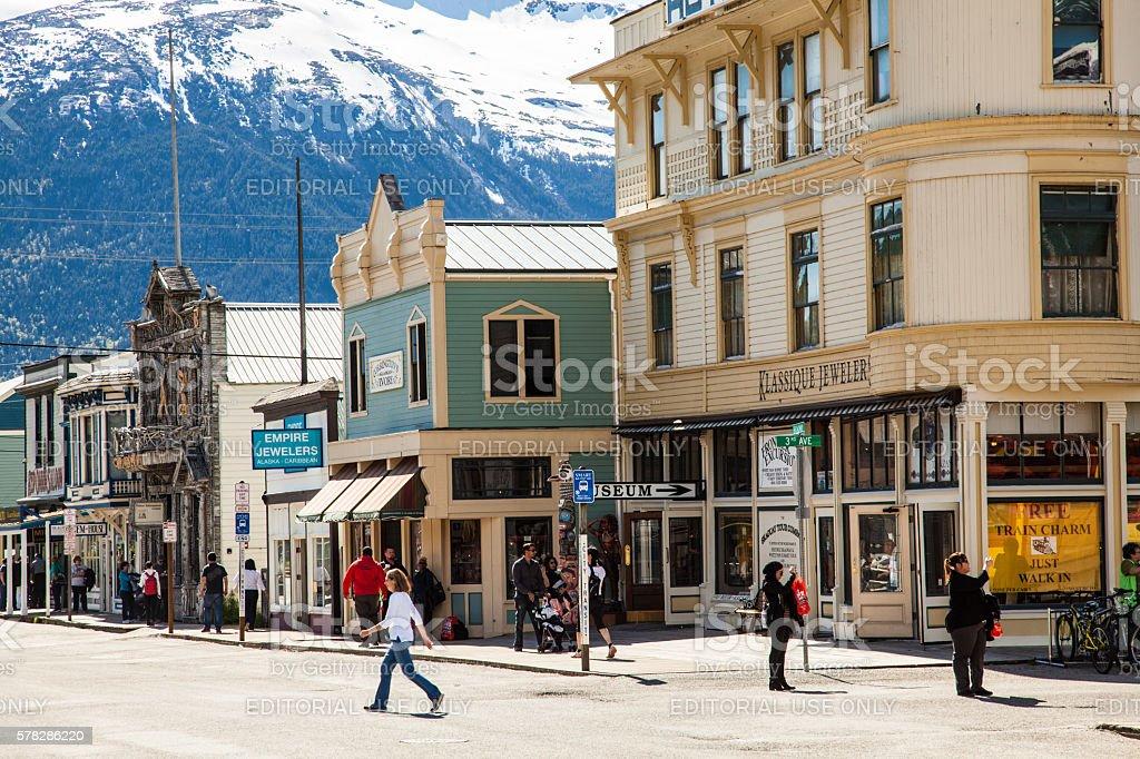 Broadway Street, Skagway, Alaska stock photo