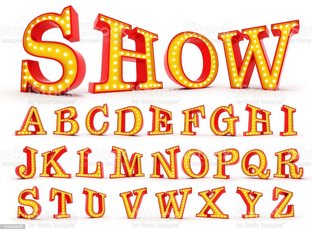 Broadway style light bulb alphabet 3d redering stock photo