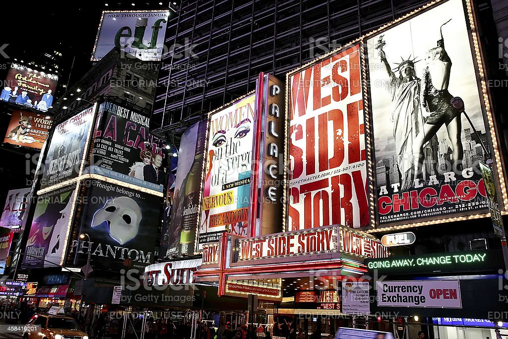 Broadway theater billboards in Times Square stock photo