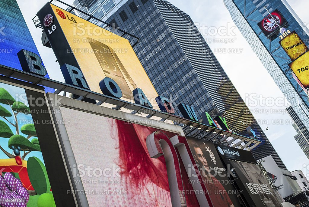 Broadway theater billboards Times Square NYC stock photo