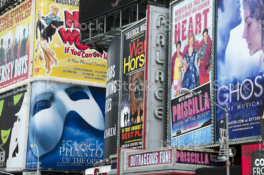Broadway theatre advertising signs stock photo