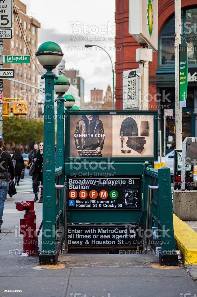 Broadway-Lafayette Subway Station Entrance. stock photo