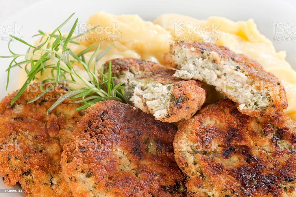 Broccoli and Buckwheat Pancakes with potatoes. royalty-free stock photo