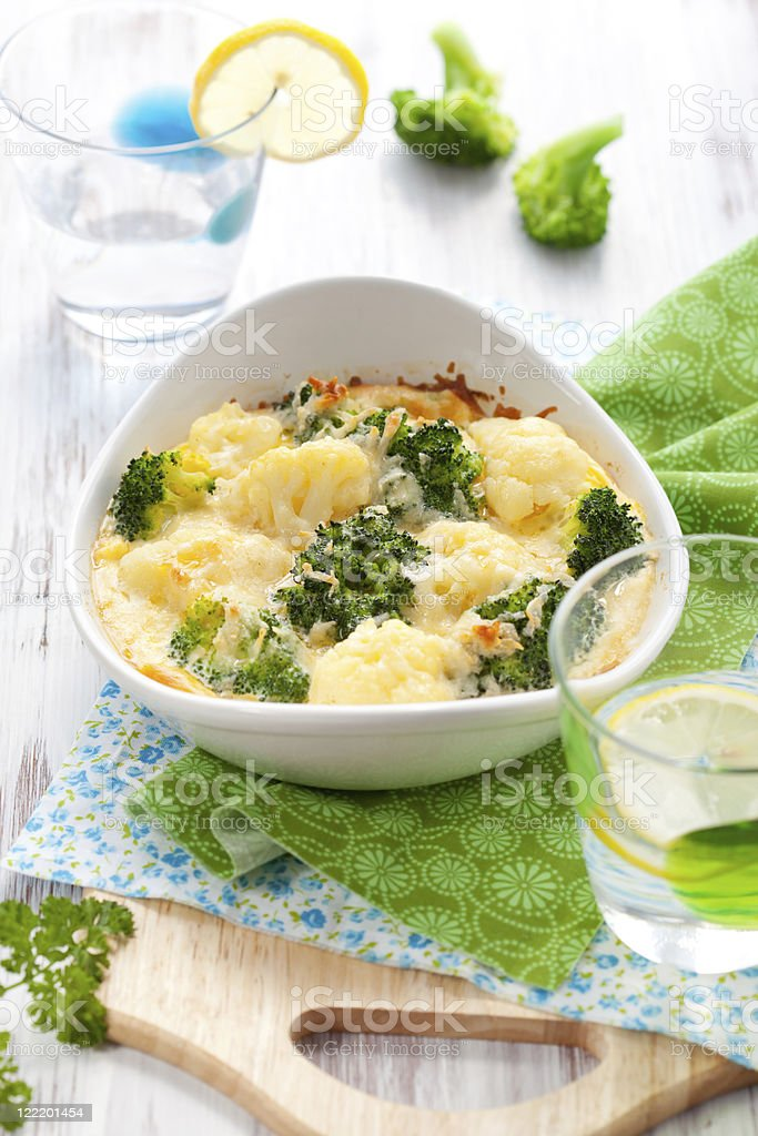 broccoli and cauliflower gratin royalty-free stock photo